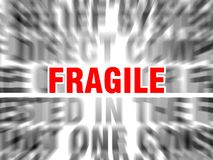 Fragile. Blurred text with focus on stock illustration