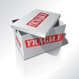 Fragile box. 3d box with red text Royalty Free Stock Images