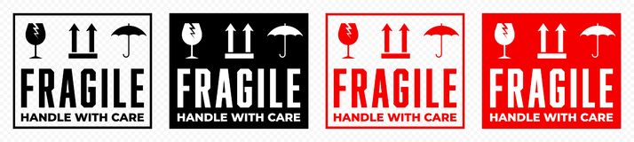 Free Fragile Box, Handle With Care Logistics Package Vector Icons Set. Fragile Cargo Shipping Warning, Glass, Umbrella An This Side Up Stock Photo - 162335120