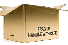 Fragile Box. An open cardboard box labeled Fragile Handle With Care royalty free stock images