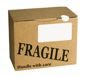 Fragile brown cardboard box, parcel - isolated over white Royalty Free Stock Photos
