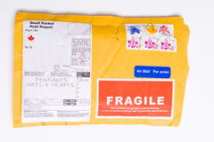 Fragile Canadian Airmail Mailer Package Customs Royalty Free Stock Images