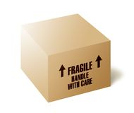 Fragile - cardboard box. Brown cardboard box with Fragile, Handle with care and arrows pointing up Royalty Free Stock Photos