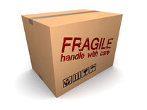 Fragile cardboard box. 3d illustration of cardboard box with fragile sign stock illustration