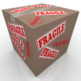 Fragile Cardboard Box Shipment Package. A cardboard box used to ship goods or items with stickers all over it marked Fragile telling the handler or delivery stock illustration