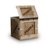Fragile contrassegnato del contenitore di legno di carico fotografia stock libera da diritti