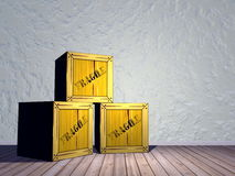 Fragile crates - 3D render Stock Photos