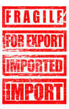 Fragile, For Export, Imported Rubber Stamp Marks Trade Terms. An illustration of Fragile, For Export, Imported and Import Rubber Stamp Marks. Image  on white Royalty Free Stock Photography