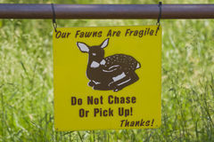 Fragile Fawns sign Stock Photos