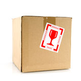 Fragile filled carton box Stock Photography