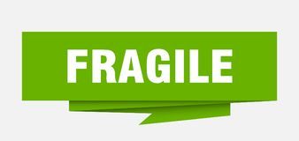 Fragile. Sign.  paper origami speech bubble.  tag.  banner stock illustration