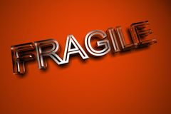 Fragile glass text. Fragile text made from glass Royalty Free Stock Image