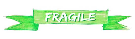 Fragile ribbon. Fragile hand painted ribbon sign royalty free illustration