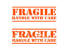 Fragile handle with Care. 2 types Fragile handle with Care labels, available as vectors for resizing Stock Images