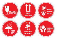 Fragile Handle with Care Label Sticker Stock Photography