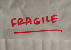 Fragile handwritten warning Royalty Free Stock Images