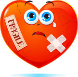 Fragile heart. Broken heart labeled fragile, fun illustration vector illustration