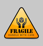 Fragile icon. Glossy fragile icon isolated on grey background royalty free illustration
