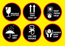 Fragile icon set Royalty Free Stock Photos