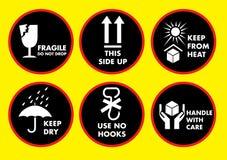 Fragile icon set. Fragile icon illustration set design Royalty Free Stock Photos