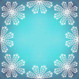 Fragile Lacy Border. Lacy composition on colorful background. Line art border or frame. Lacy elements on vivid background. Copy space Stock Photos