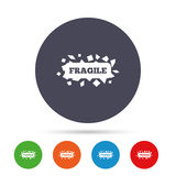 Fragile parcel icon. Package delivery symbol. Fragile parcel sign icon. Delicate package delivery symbol. Round colourful buttons with flat icons. Vector Stock Photos