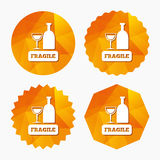 Fragile parcel icon. Package delivery symbol. Royalty Free Stock Photo