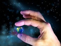 Fragile planet. Male hand holding planet Earth. Digital illustration Royalty Free Stock Photos