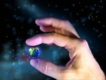 Fragile planet. Male hand holding planet Earth. Digital illustration vector illustration