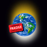Fragile Planet Earth. An image showing the earth which came into being when God created the universe and the globe for us to live in and enjoy. Now the planet is vector illustration