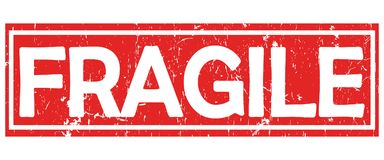 Fragile - red and white label / stamp. Fragile - red and white grunge  label / stamp / sticker. Print colors used Stock Photos