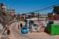 Fragile residential constructions of favela Vidigal in Rio de Janeiro Stock Image