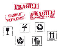 Fragile rubber stamps. Set of fragile rubber stamps vector illustration