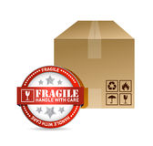 Fragile seal and box illustration design Royalty Free Stock Photo