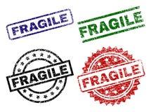Grunge Textured FRAGILE Stamp Seals royalty free illustration