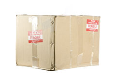 Fragile shipping box isolated on white Royalty Free Stock Photos