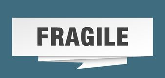 Fragile. Sign.  paper origami speech bubble.  tag.  banner vector illustration