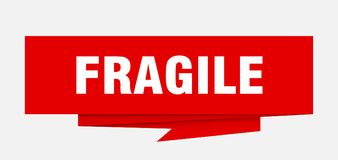 Fragile. Sign.  paper origami speech bubble.  tag.  banner royalty free illustration