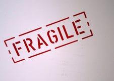 Fragile sign. Red Fragile sign on plastic case Stock Image