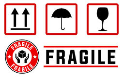 Fragile signs and stamps vector illustration