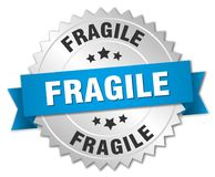 Fragile. Silver badge with blue ribbon vector illustration
