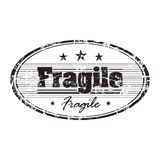 Fragile stamp. Abstract grunge rubber office stamp with small stars and the word fragile written in the middle stock illustration