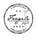 Fragile stamp. Abstract grunge rubber office stamp with stars and the word fragile written in the middle of the stamp stock illustration