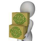 Fragile Stamp On Boxes Showing Breakable Or Delicate Products Stock Photos