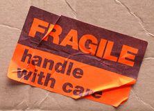 Fragile Sticker and Box royalty free stock image