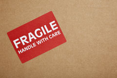 Fragile sticker on Box Royalty Free Stock Photo