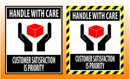 Fragile sticker handle with care icon packaging  symbols sign red Stock Photo