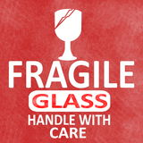 Fragile sticker rubber stamp with handle with care and glass text and  Sign Stock Photos