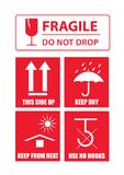 Fragile sticker set Royalty Free Stock Images
