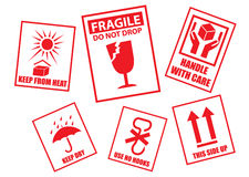 Fragile sticker set Royalty Free Stock Photos